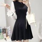 Chiffon-Sleeve A-Line Dress 1596