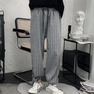 Image of Plaid Drawstring-Hem Harem Pants