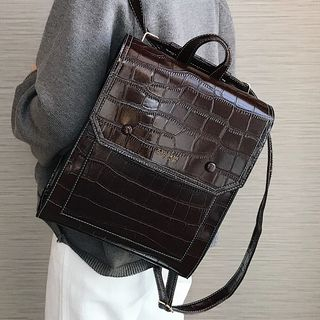Image of Croc Grain Faux Leather Backpack