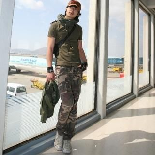 Picture of moscod Set: Distressed T-Shirt with Hood + Camouflage Print Pants 1022850067 (moscod, Mens Suits, Korea)