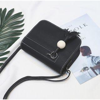 Tasseled Faux Leather Crossbody Bag
