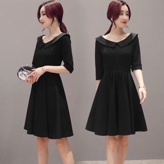Image of Elbow-Sleeve A-Line Dress