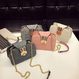 Sequined Ear Chain Strap Crossbody Bag