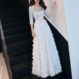 Image of 3/4-Sleeve Sequined Feather A-Line Evening Gown