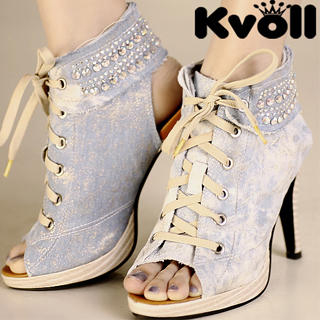 Picture of Kvoll Denim Cutout Sneaker Heels 1023070071 (Sneakers, Kvoll Shoes, China Shoes, Womens Shoes, Womens Sneakers)