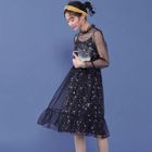 Set: Dotted Print Sheer Dress + Spaghetti-Strap Floral Dress 1596