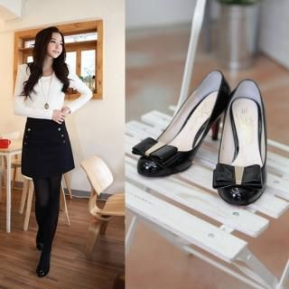 Picture of NamuDDalgi Patent Bow Front Pumps 1022188744 (Pump Shoes, NamuDDalgi Shoes, Korea Shoes, Womens Shoes, Womens Pump Shoes)