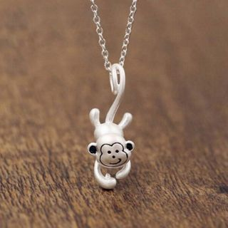 Monkey Pendant Sterling Silver Necklace Silver - One Size