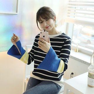 Slit-Sleeve Stripe Knit Top 1064282454