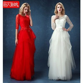 Elbow-Sleeve / Long-Sleeve Lace Panel A-Line Evening Gown 1049161033
