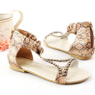 Buy KAWO Python-Print Studded Flat Sandals 1022912075