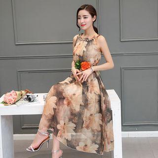 Buttoned Floral Chiffon Midi Dress 1061367222