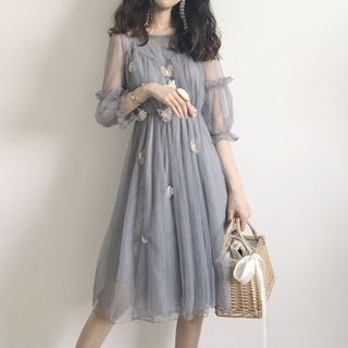 Image of 3/4-Sleeve Embroidered A-Line Mesh Dress