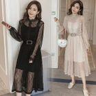 Set: Long-Sleeve Lace Midi Dress + Strappy Dress 1596