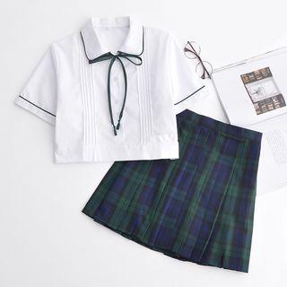 Image of Set: Short-Sleeve Shirt + Check Pleated Skirt