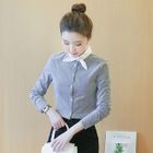 Bow-Accent Collar Striped Blouse 1596