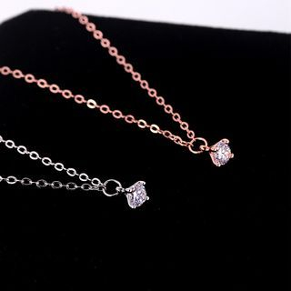 S925 Sterling Silver Rhinestone Necklace 1057413387