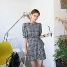 Puff-Sleeve Wrap-Front Plaid Sheath Dress 1596