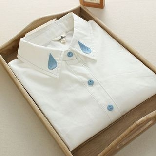Long-Sleeve Water Drop Embroidered Shirt 1046381177