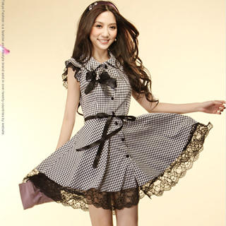 Buy Tokyo Fashion Lace-Trim Gingham Shirtdress 1022882820