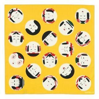cochae: Kokeshi Face Furoshiki Wrapping Cloth (Japanese Mustard Colour) (50cm)