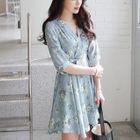 Floral Print Tie-Waist Elbow-Sleeve A-Line Dress 1596