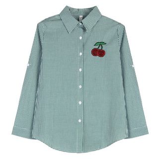 Image of Cherry Embroidered Plaid Shirt