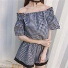 Set: Short-Sleeve Off Shoulder Top + Shorts 1596