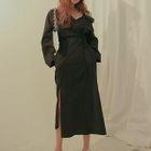 Long-Sleeve Tie-Waist Dress 1596