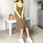 Striped Turtleneck Long Sleeve T-Shirt / Midi Spaghetti Strap Dress 1596