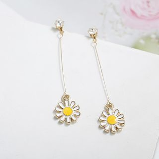 Flower Alloy Dangle Earring 1 Pair - White - One Size