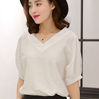 Short-Sleeve V-Neck Blouse 1050509390