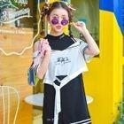 Mock Two-Piece Elbow-Sleeve Cutout Mini Dress 1596