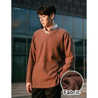 V-Neck Ribbed Sweater 1063272867