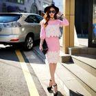 Set: Lace-Trim Pullover + Pencil Skirt 1596