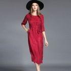 Elbow-Sleeve Tie-Waist Loose-Fit Plain Dress 1596