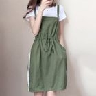 Set: Plain Short Sleeve T-Shirt + Striped Pinafore Dress 1596