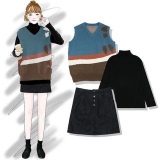 Long-sleeve   V-neck   Skirt   Vest   Mini   Top