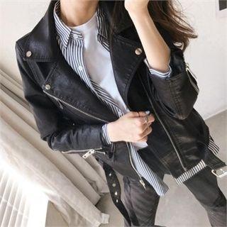 Image For Belted Faux-Leather Biker Jacket
