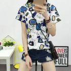 Printed Short-Sleeve T-shirt HQ-6191 - White - XL от YesStyle.com INT