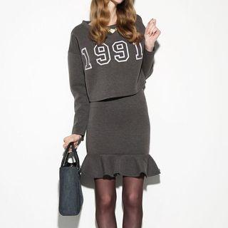 Set: Lettering Top + Ruffled Skirt