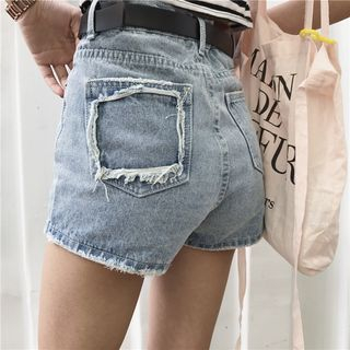 Distressed Pocket Denim Shorts 1059790337