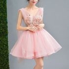 Sleeveless Floral Embroidery Mini Prom Dress 1596