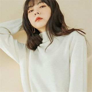 Image of Turtle-Neck Wool Blend Knit Top