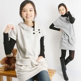 Buy CLICK Short-Sleeve Hooded Long Top 1022420295