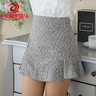 Ruffle Hem Melange Mini Skirt 1055368963