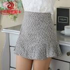 Ruffle Hem Melange Mini Skirt 1596