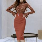 Set: Ruffled Lace Top + Pencil Skirt 1596