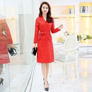 Long-Sleeve Tie-Waist Dress 1056482470