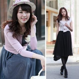 Buy Envy Look Set: Cardigan + Tulle Layered Shirred Dress 1022519041